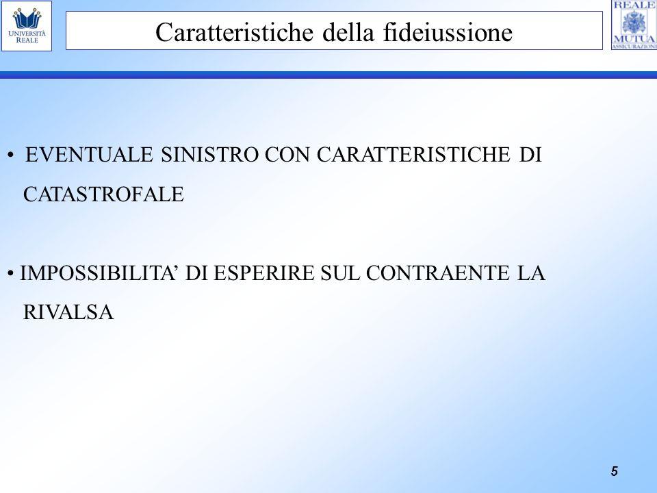5 Caratteristiche della fideiussione EVENTUALE SINISTRO CON CARATTERISTICHE DI CATASTROFALE IMPOSSIBILITA DI ESPERIRE SUL CONTRAENTE LA RIVALSA