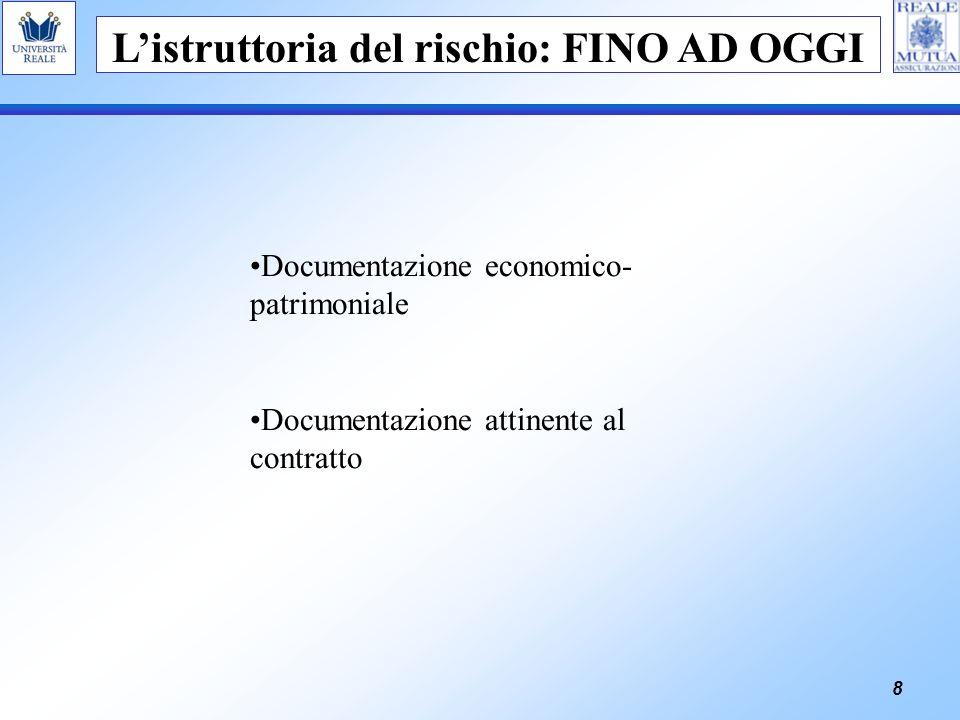 8 Listruttoria del rischio: FINO AD OGGI Documentazione economico- patrimoniale Documentazione attinente al contratto