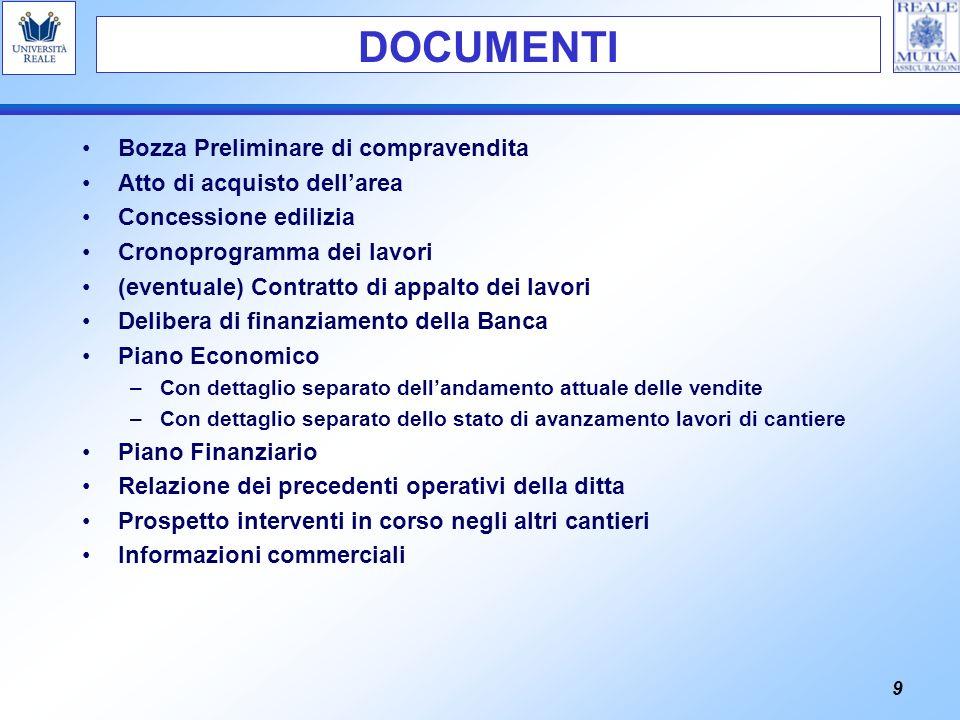 9 Bozza Preliminare di compravendita Atto di acquisto dellarea Concessione edilizia Cronoprogramma dei lavori (eventuale) Contratto di appalto dei lav