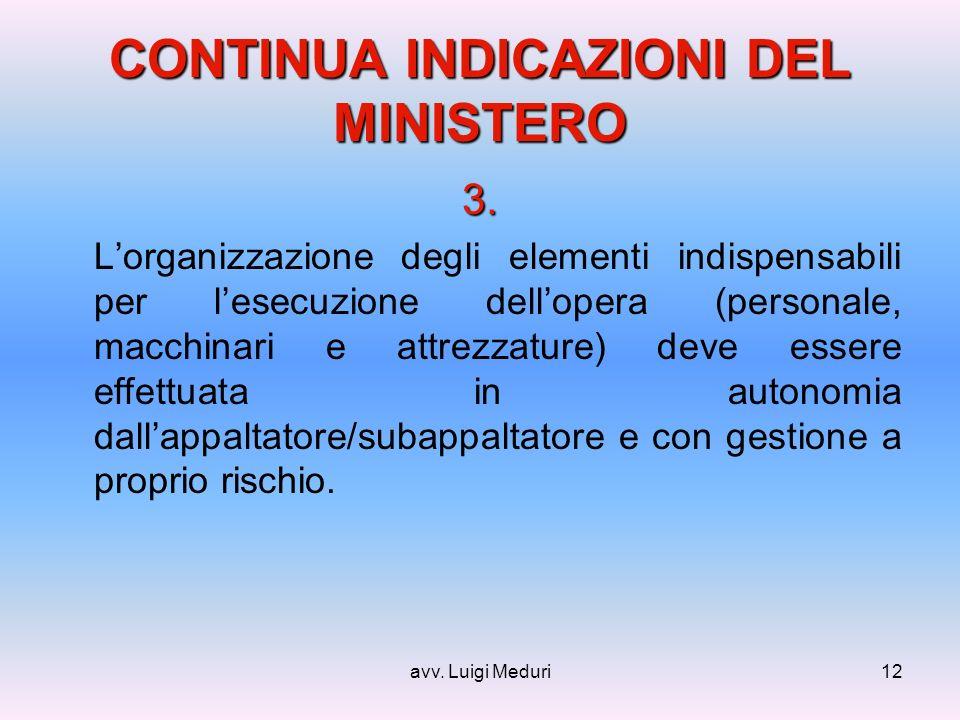 avv. Luigi Meduri12 CONTINUA INDICAZIONI DEL MINISTERO 3.