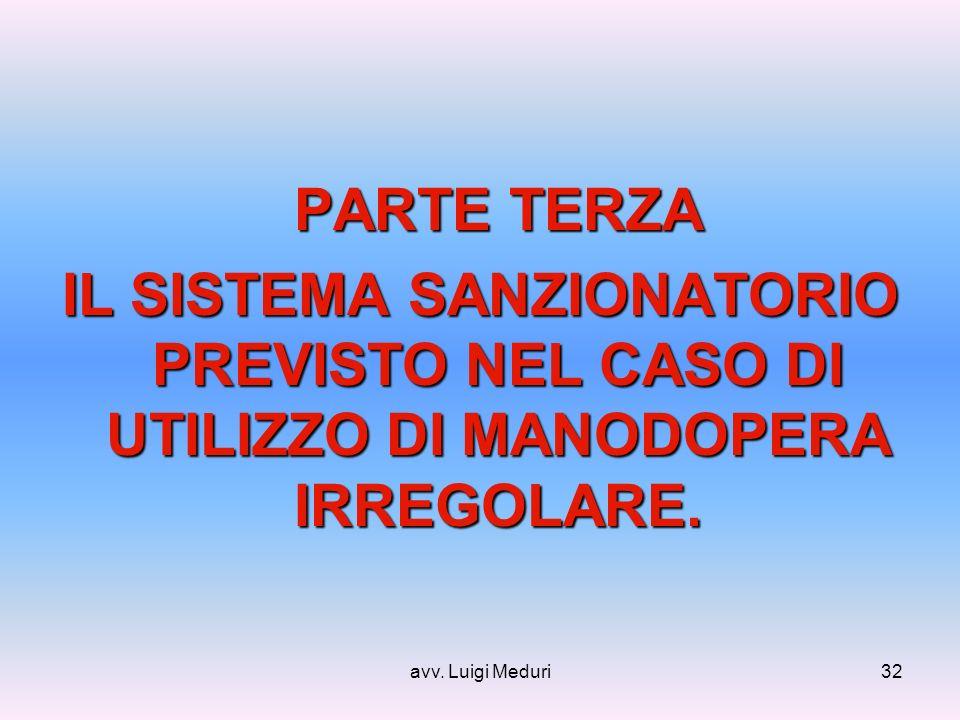 avv. Luigi Meduri32 PARTE TERZA IL SISTEMA SANZIONATORIO PREVISTO NEL CASO DI UTILIZZO DI MANODOPERA IRREGOLARE.