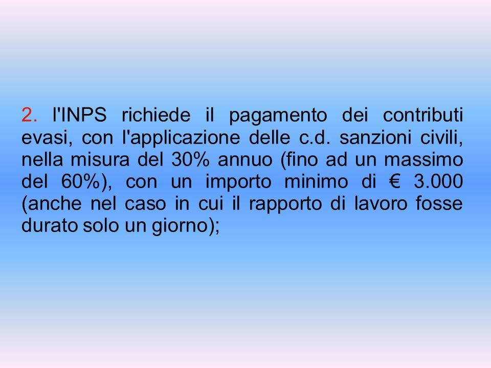 2. l INPS richiede il pagamento dei contributi evasi, con l applicazione delle c.d.