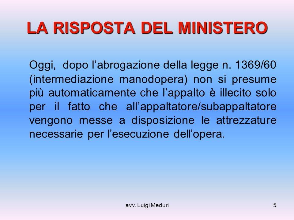 avv. Luigi Meduri5 LA RISPOSTA DEL MINISTERO Oggi, dopo labrogazione della legge n.