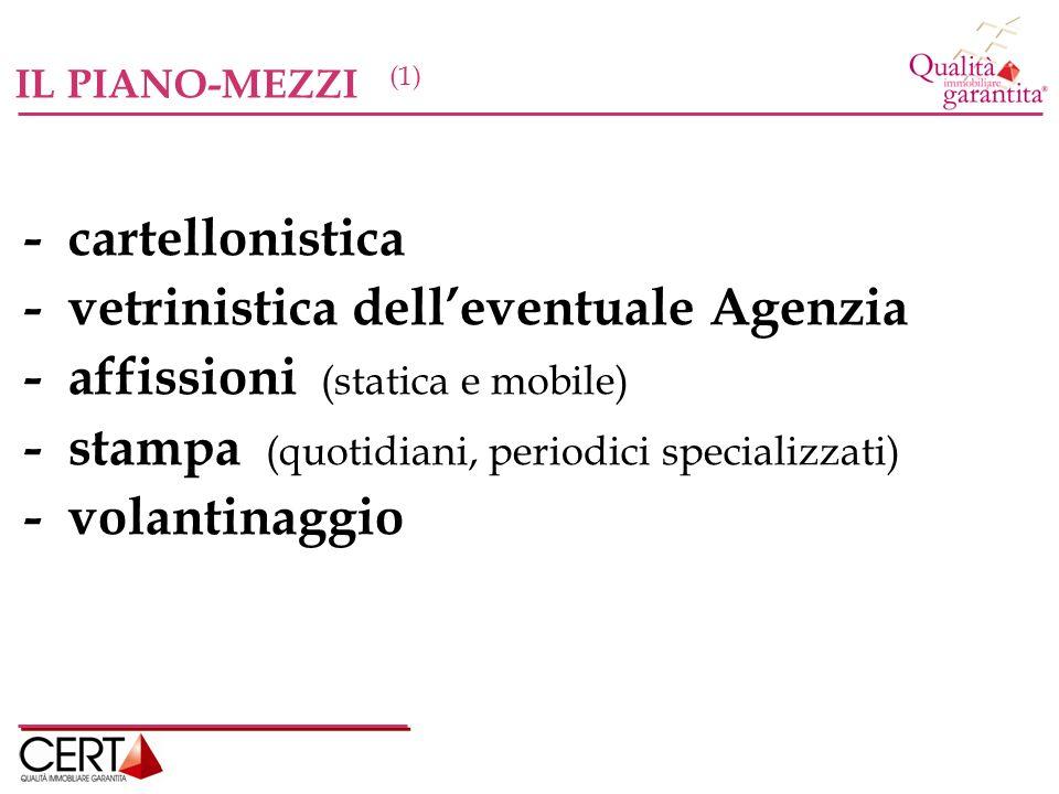 IL PIANO-MEZZI (1) - cartellonistica - vetrinistica delleventuale Agenzia - affissioni (statica e mobile) - stampa (quotidiani, periodici specializzati) - volantinaggio