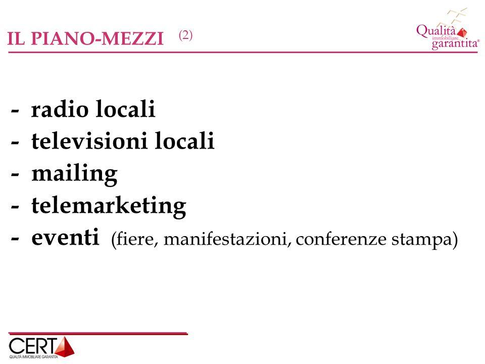 IL PIANO-MEZZI (2) - radio locali - televisioni locali - mailing - telemarketing - eventi (fiere, manifestazioni, conferenze stampa)