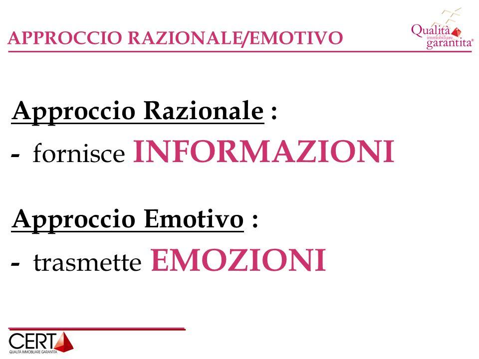 APPROCCIO RAZIONALE/EMOTIVO Approccio Razionale : - fornisce INFORMAZIONI Approccio Emotivo : - trasmette EMOZIONI