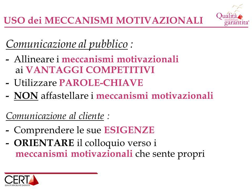 USO dei MECCANISMI MOTIVAZIONALI Comunicazione al pubblico : - Allineare i meccanismi motivazionali ai VANTAGGI COMPETITIVI - Utilizzare PAROLE-CHIAVE - NON affastellare i meccanismi motivazionali Comunicazione al cliente : - Comprendere le sue ESIGENZE - ORIENTARE il colloquio verso i meccanismi motivazionali che sente propri