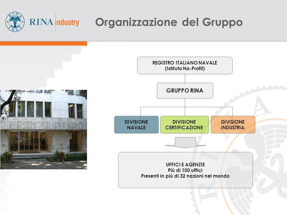 3 UFFICI E AGENZIE Più di 100 uffici Presenti in più di 32 nazioni nel mondo DIVISIONE NAVALE DIVISIONE CERTIFICAZIONE DIVISIONE INDUSTRIA GRUPPO RINA REGISTRO ITALIANO NAVALE (Istituto No-Profit) Organizzazione del Gruppo