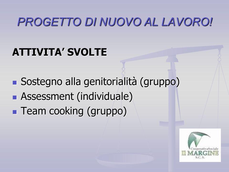 PROGETTO DI NUOVO AL LAVORO.