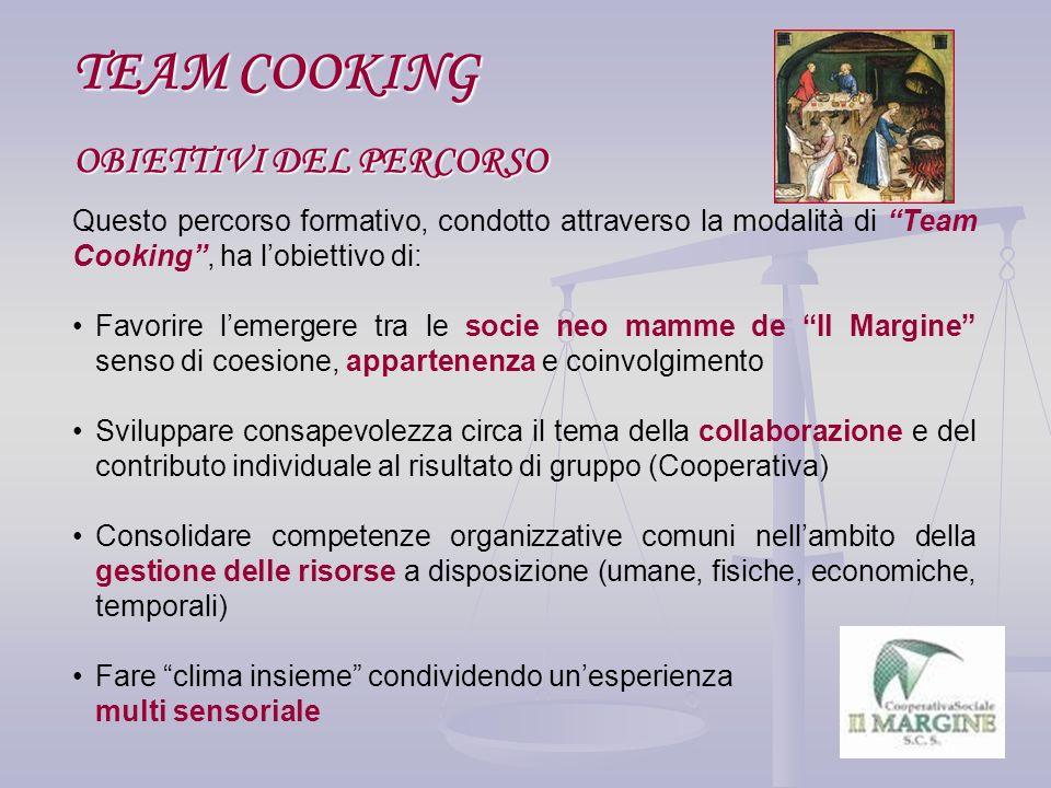 OBIETTIVI DEL PERCORSO OBIETTIVI DEL PERCORSO TEAM COOKING Questo percorso formativo, condotto attraverso la modalità di Team Cooking, ha lobiettivo d