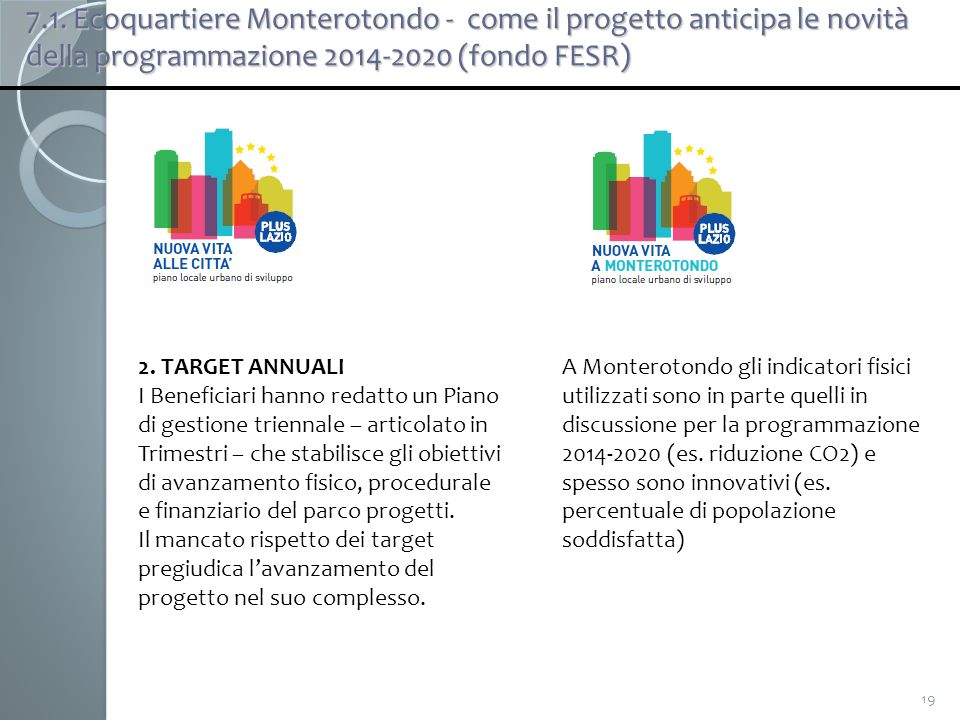 19 2. TARGET ANNUALI I Beneficiari hanno redatto un Piano di gestione triennale – articolato in Trimestri – che stabilisce gli obiettivi di avanzament