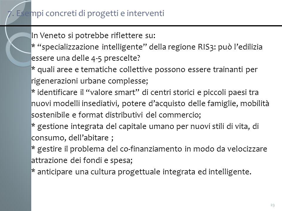 7. Esempi concreti di progetti e interventi 23 In Veneto si potrebbe riflettere su: * specializzazione intelligente della regione RIS3: può ledilizia