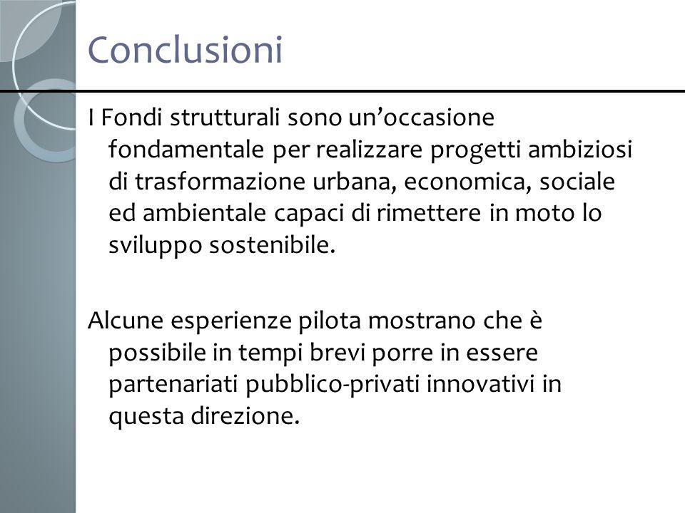 Conclusioni I Fondi strutturali sono unoccasione fondamentale per realizzare progetti ambiziosi di trasformazione urbana, economica, sociale ed ambien