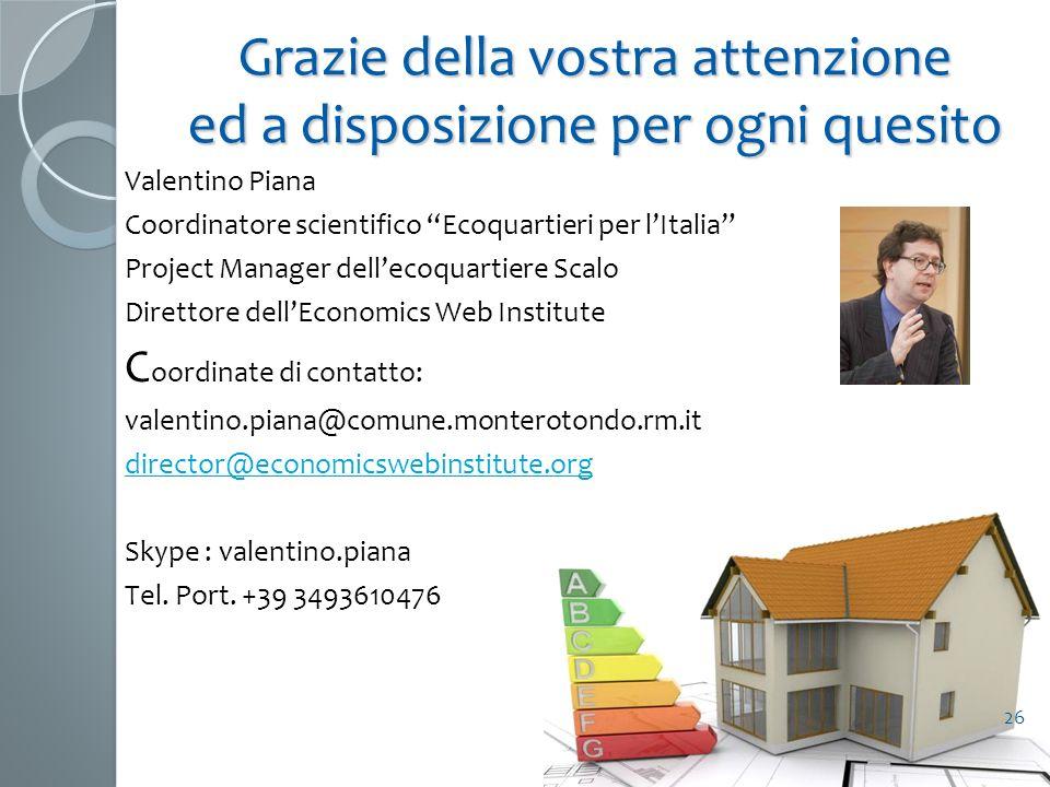 Grazie della vostra attenzione ed a disposizione per ogni quesito Valentino Piana Coordinatore scientifico Ecoquartieri per lItalia Project Manager de