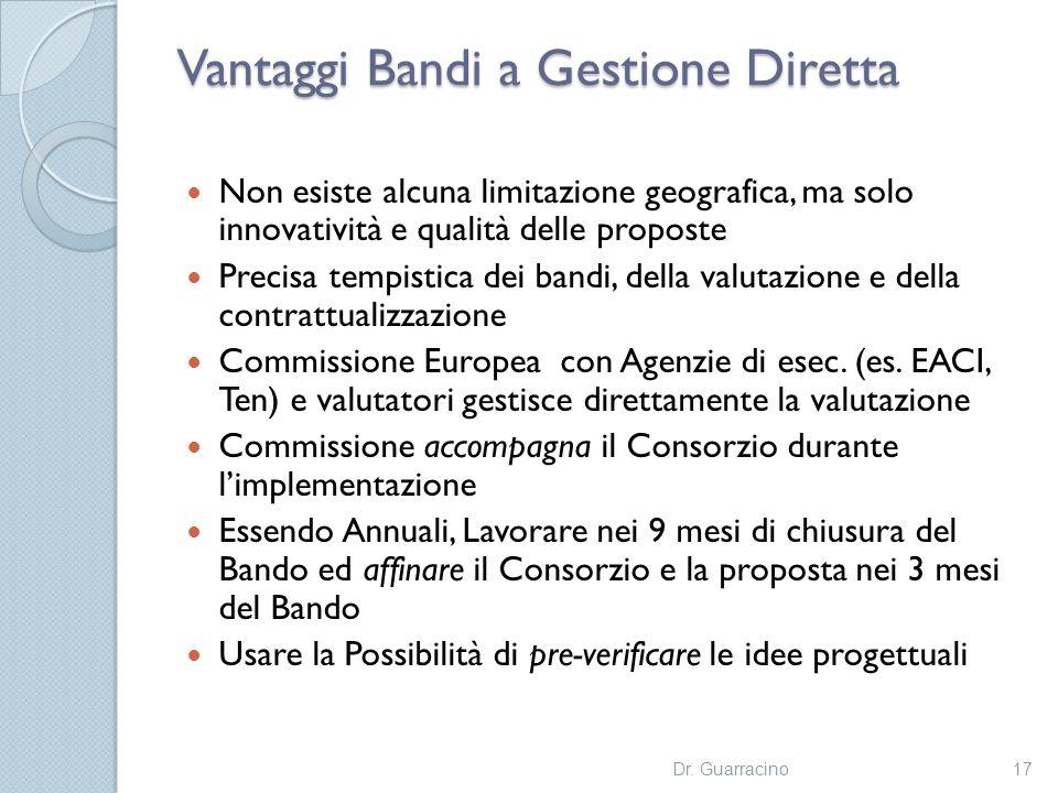 Vantaggi Bandi a Gestione Diretta Non esiste alcuna limitazione geografica, ma solo innovatività e qualità delle proposte Precisa tempistica dei bandi