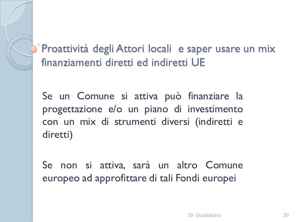 Proattività degli Attori locali e saper usare un mix finanziamenti diretti ed indiretti UE Se un Comune si attiva può finanziare la progettazione e/o