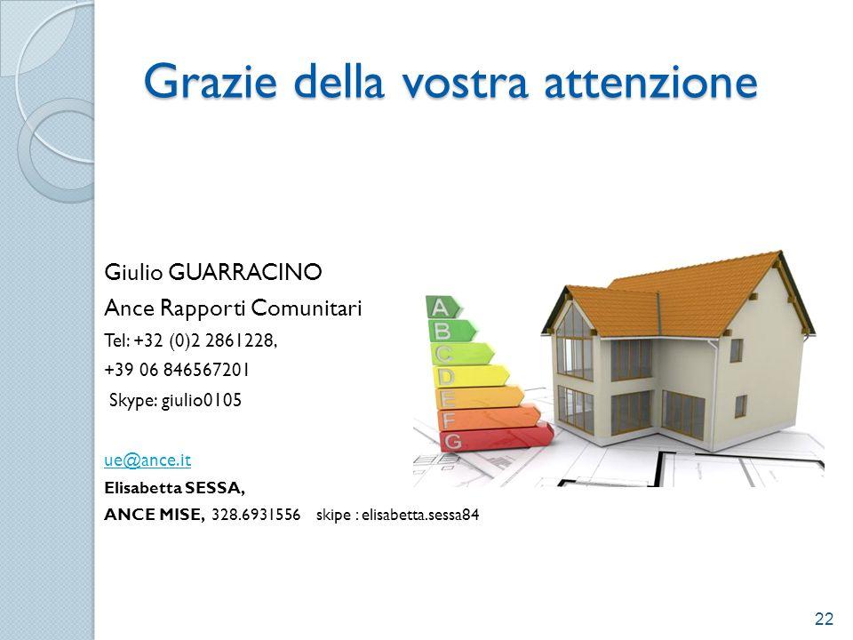 Grazie della vostra attenzione Giulio GUARRACINO Ance Rapporti Comunitari Tel: +32 (0)2 2861228, +39 06 846567201 Skype: giulio0105 ue@ance.it Elisabe
