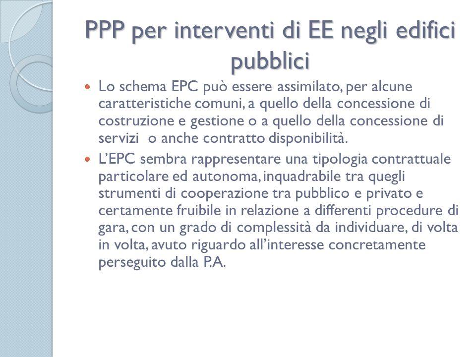 PPP per interventi di EE negli edifici pubblici Lo schema EPC può essere assimilato, per alcune caratteristiche comuni, a quello della concessione di costruzione e gestione o a quello della concessione di servizi o anche contratto disponibilità.