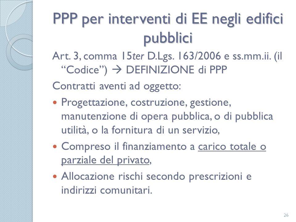 PPP per interventi di EE negli edifici pubblici Art.