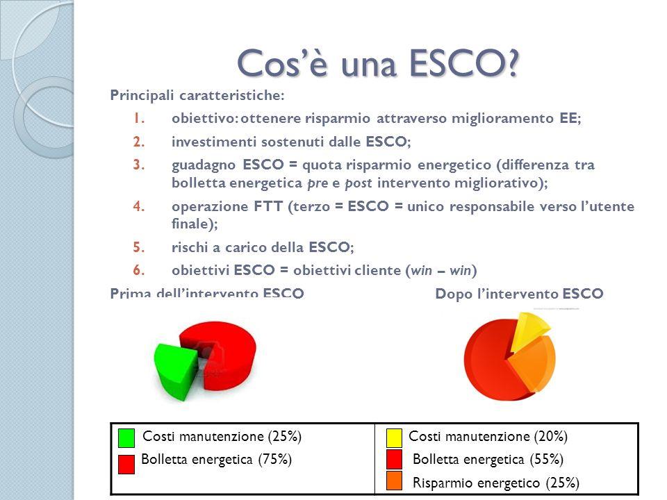 Ripartizione dei rischi, copertura del finanziamento e remunerazione della ESCO Altre possibili forme di finanziamento: - Four Step: ottimizzazione della conduzione e manutenzione ordinaria (Step 1 - O&M: Operation and Maintenance); i risparmi ottenuti dallO&M finanziano interventi di efficientamento semplici e a basso costo (Step 2); i risparmi generati da O&M e primi interventi finanziano lattuazione di misure di taglia media (Step 3); i risparmi derivanti dalle tre fasi precedenti forniscono le risorse per le modifiche più impegnative e a più lungo tempo di ritorno (Step 4).