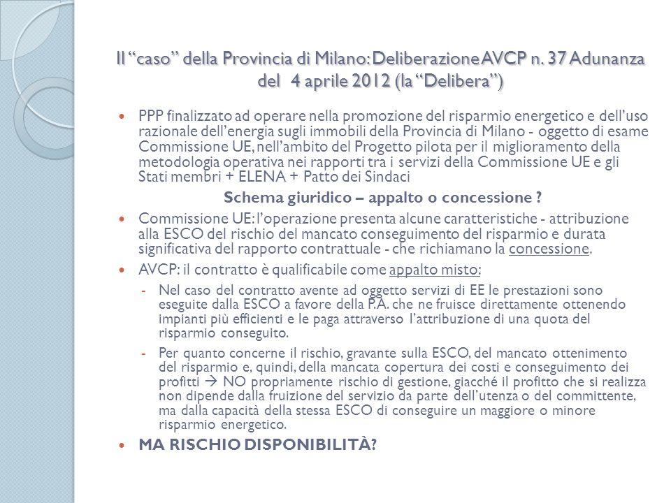 Il caso della Provincia di Milano: Deliberazione AVCP n.
