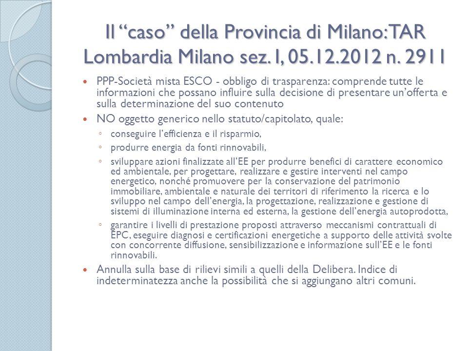 Il caso della Provincia di Milano: TAR Lombardia Milano sez.