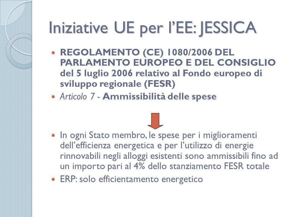 Iniziative UE per lEE: JESSICA REGOLAMENTO (CE) 1080/2006 DEL PARLAMENTO EUROPEO E DEL CONSIGLIO del 5 luglio 2006 relativo al Fondo europeo di sviluppo regionale (FESR) Articolo 7 - Ammissibilità delle spese In ogni Stato membro, le spese per i miglioramenti dellefficienza energetica e per lutilizzo di energie rinnovabili negli alloggi esistenti sono ammissibili fino ad un importo pari al 4% dello stanziamento FESR totale ERP: solo efficientamento energetico