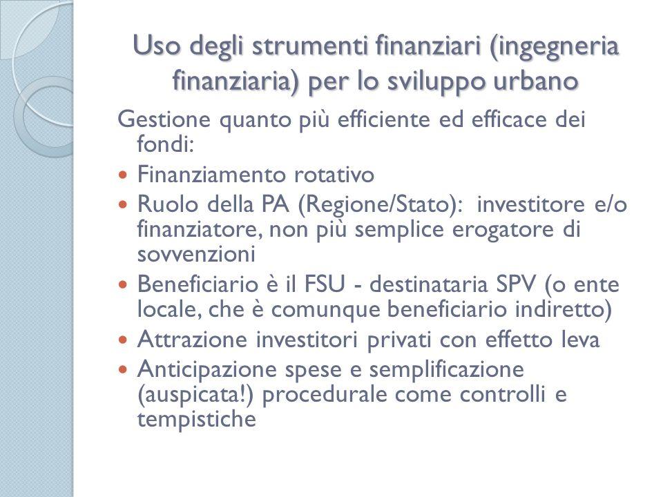 Uso degli strumenti finanziari (ingegneria finanziaria) per lo sviluppo urbano Gestione quanto più efficiente ed efficace dei fondi: Finanziamento rotativo Ruolo della PA (Regione/Stato): investitore e/o finanziatore, non più semplice erogatore di sovvenzioni Beneficiario è il FSU - destinataria SPV (o ente locale, che è comunque beneficiario indiretto) Attrazione investitori privati con effetto leva Anticipazione spese e semplificazione (auspicata!) procedurale come controlli e tempistiche