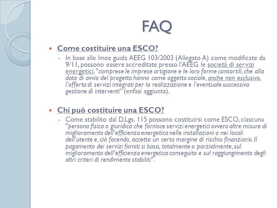 FAQ Come costituire una ESCO.