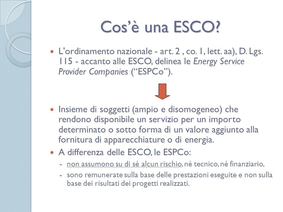 Strumenti di incentivazione delle ESCO e TEE Gli strumenti che una ESCO usa per finanziare la propria attività sono: 1.finanziamento esterno: prestito bancario, leasing o project financing; 2.finanziamento interno: può concretarsi in un venture capital; 3.TEE: certificati bianchi.