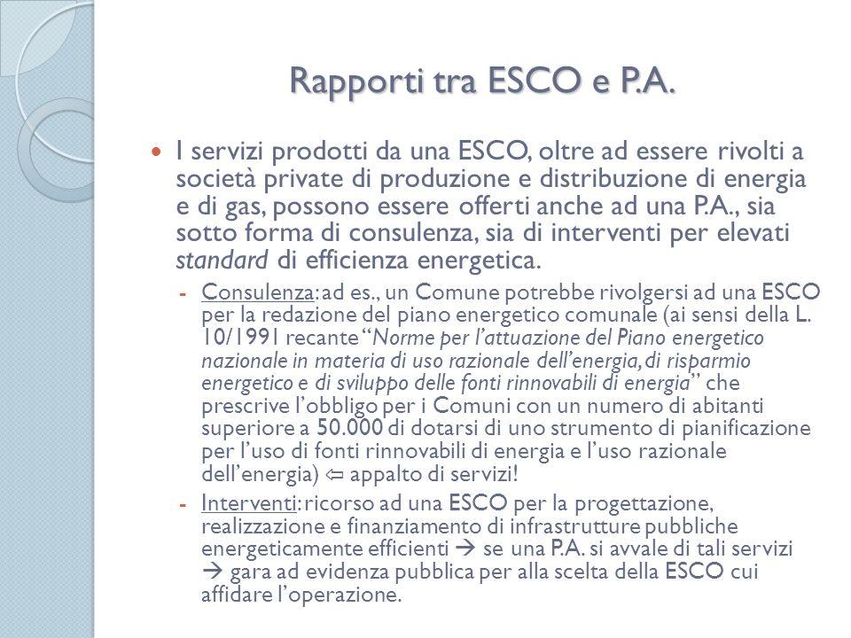 Rapporti tra ESCO e P.A.