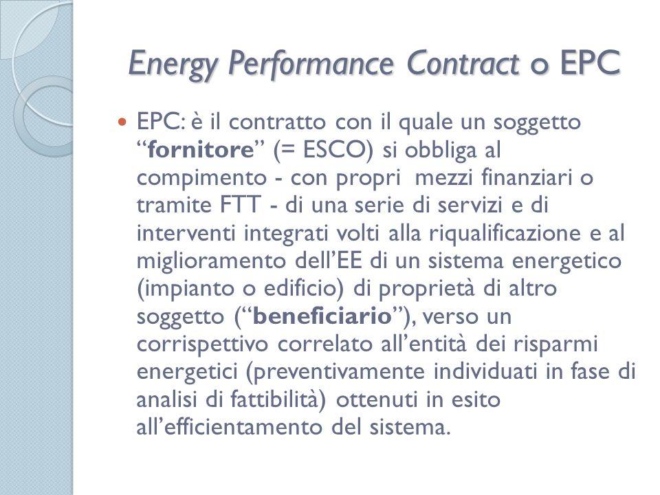 Energy Performance Contract o EPC EPC: è il contratto con il quale un soggettofornitore (= ESCO) si obbliga al compimento - con propri mezzi finanziari o tramite FTT - di una serie di servizi e di interventi integrati volti alla riqualificazione e al miglioramento dellEE di un sistema energetico (impianto o edificio) di proprietà di altro soggetto (beneficiario), verso un corrispettivo correlato allentità dei risparmi energetici (preventivamente individuati in fase di analisi di fattibilità) ottenuti in esito allefficientamento del sistema.