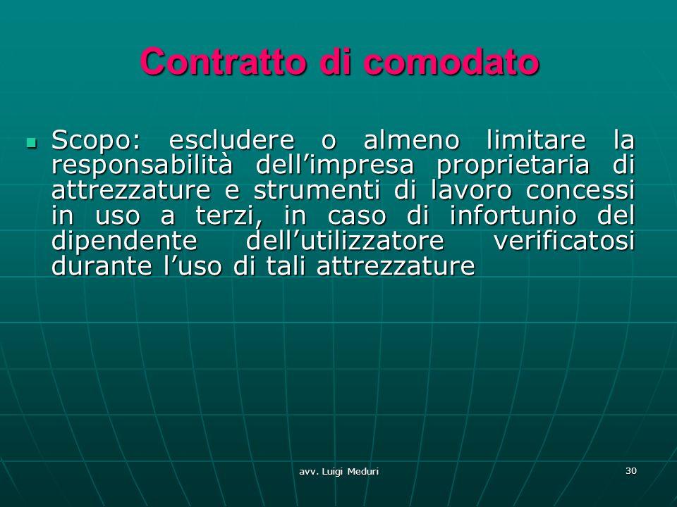 avv. Luigi Meduri 30 Contratto di comodato Scopo: escludere o almeno limitare la responsabilità dellimpresa proprietaria di attrezzature e strumenti d