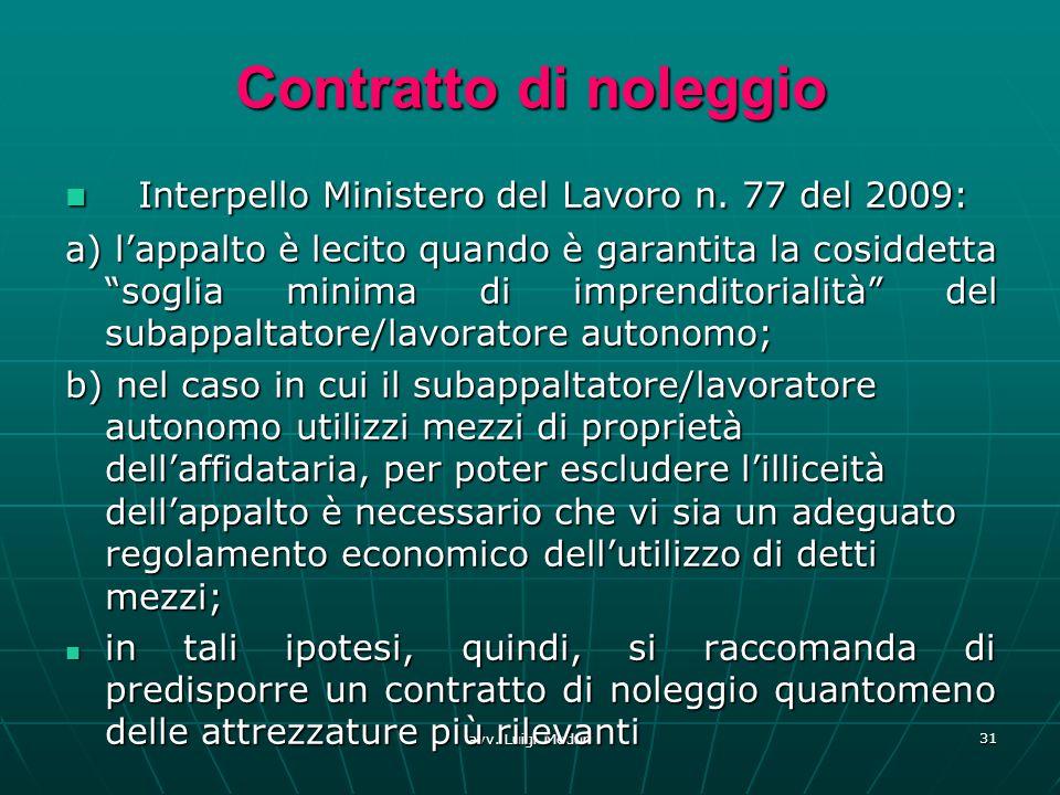 avv. Luigi Meduri 31 Contratto di noleggio Interpello Ministero del Lavoro n. 77 del 2009: Interpello Ministero del Lavoro n. 77 del 2009: a) lappalto