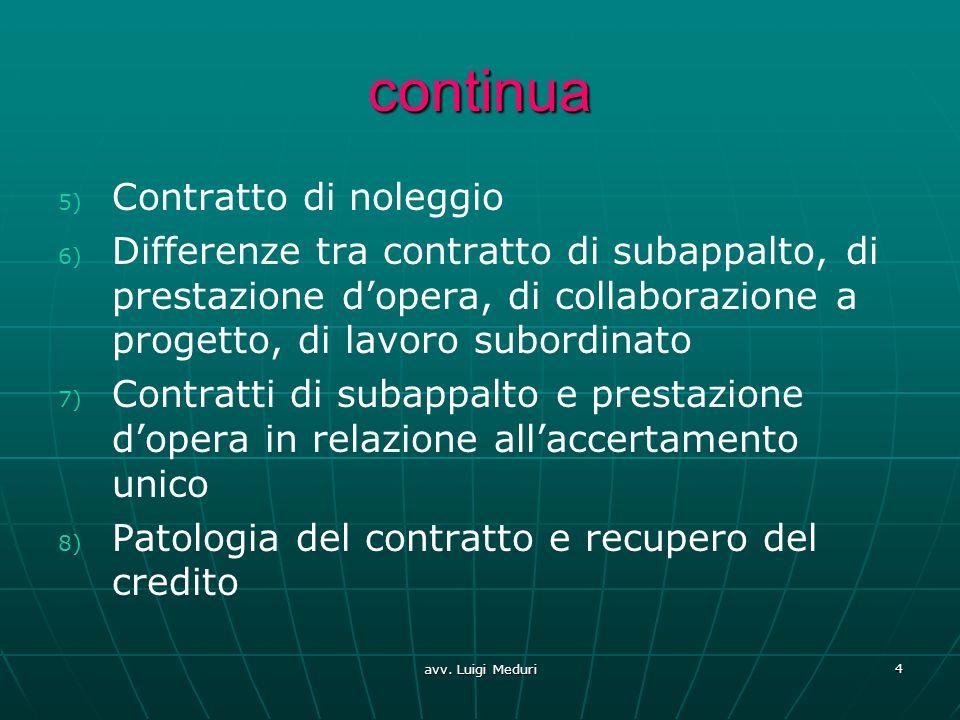 continua 5) 5) Contratto di noleggio 6) 6) Differenze tra contratto di subappalto, di prestazione dopera, di collaborazione a progetto, di lavoro subo