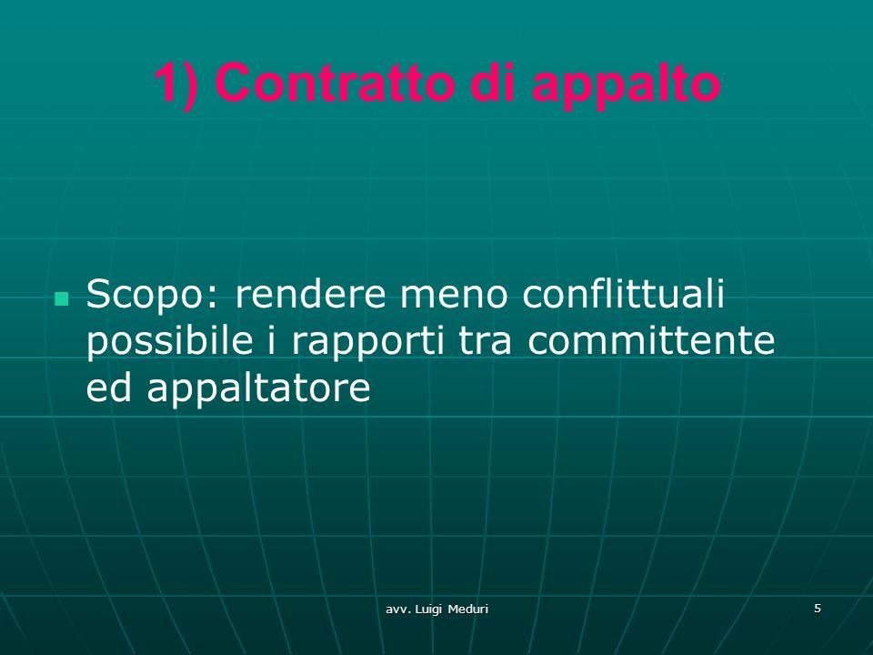 1) Contratto di appalto Scopo: rendere meno conflittuali possibile i rapporti tra committente ed appaltatore avv. Luigi Meduri 5