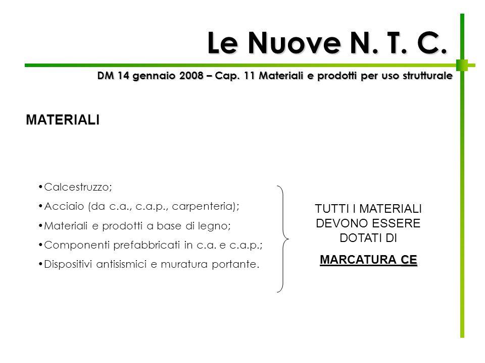Le Nuove N. T. C. Calcestruzzo; Acciaio (da c.a., c.a.p., carpenteria); Materiali e prodotti a base di legno; Componenti prefabbricati in c.a. e c.a.p