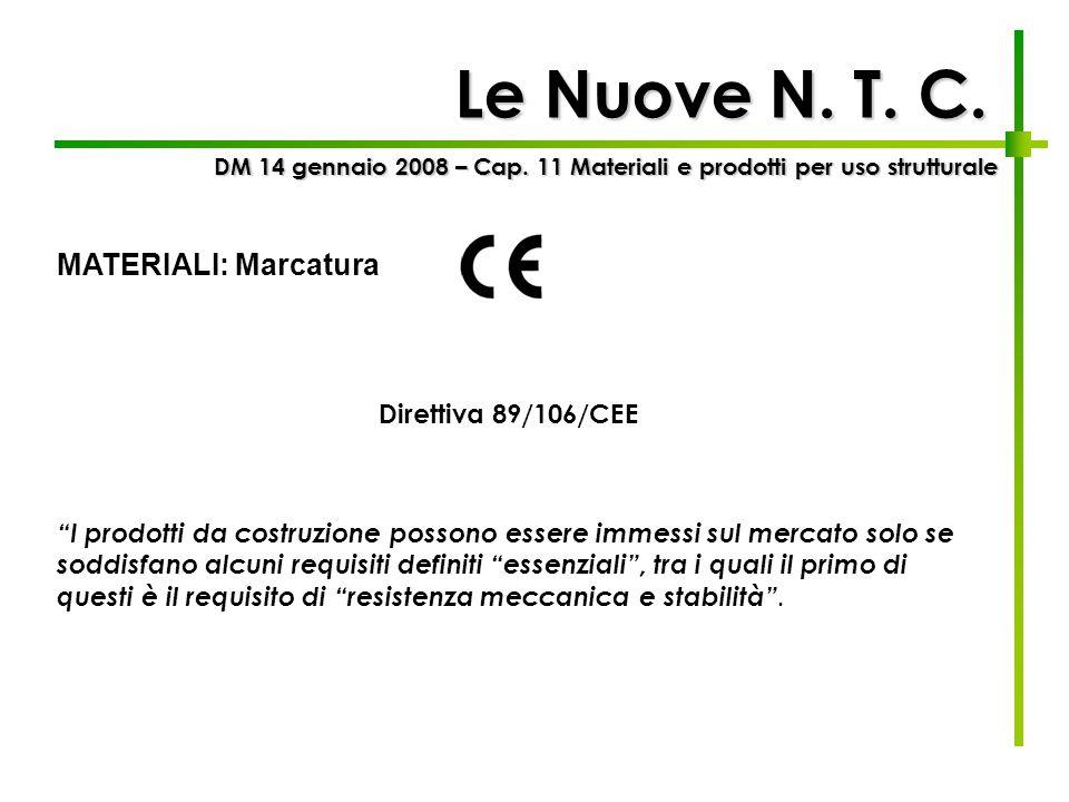 Le Nuove N. T. C. DM 14 gennaio 2008 – Cap. 11 Materiali e prodotti per uso strutturale MATERIALI: Marcatura I prodotti da costruzione possono essere