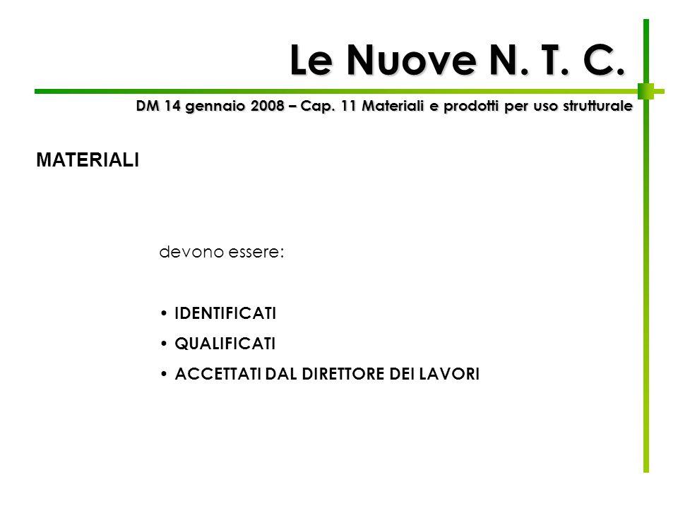 Le Nuove N. T. C. devono essere: IDENTIFICATI QUALIFICATI ACCETTATI DAL DIRETTORE DEI LAVORI DM 14 gennaio 2008 – Cap. 11 Materiali e prodotti per uso