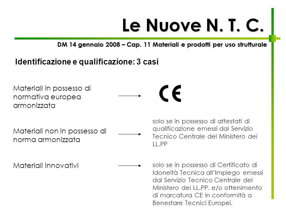 Le Nuove N. T. C. DM 14 gennaio 2008 – Cap. 11 Materiali e prodotti per uso strutturale Identificazione e qualificazione: 3 casi Materiali in possesso
