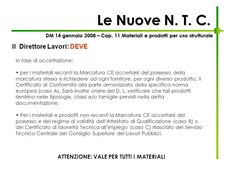 Le Nuove N. T. C. DM 14 gennaio 2008 – Cap. 11 Materiali e prodotti per uso strutturale Il Direttore Lavori: DEVE In fase di accettazione: per i mater