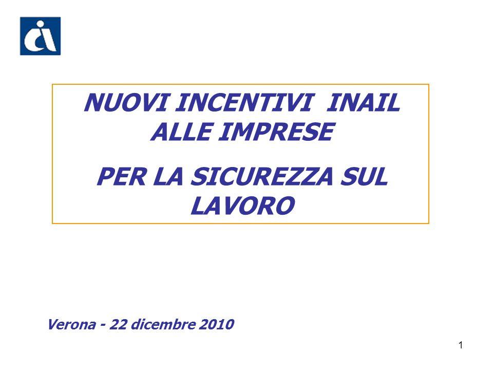 1 NUOVI INCENTIVI INAIL ALLE IMPRESE PER LA SICUREZZA SUL LAVORO Verona - 22 dicembre 2010