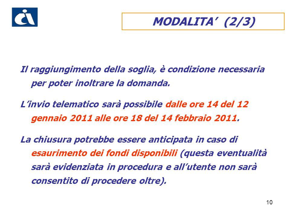 10 MODALITA (2/3) Il raggiungimento della soglia, è condizione necessaria per poter inoltrare la domanda.