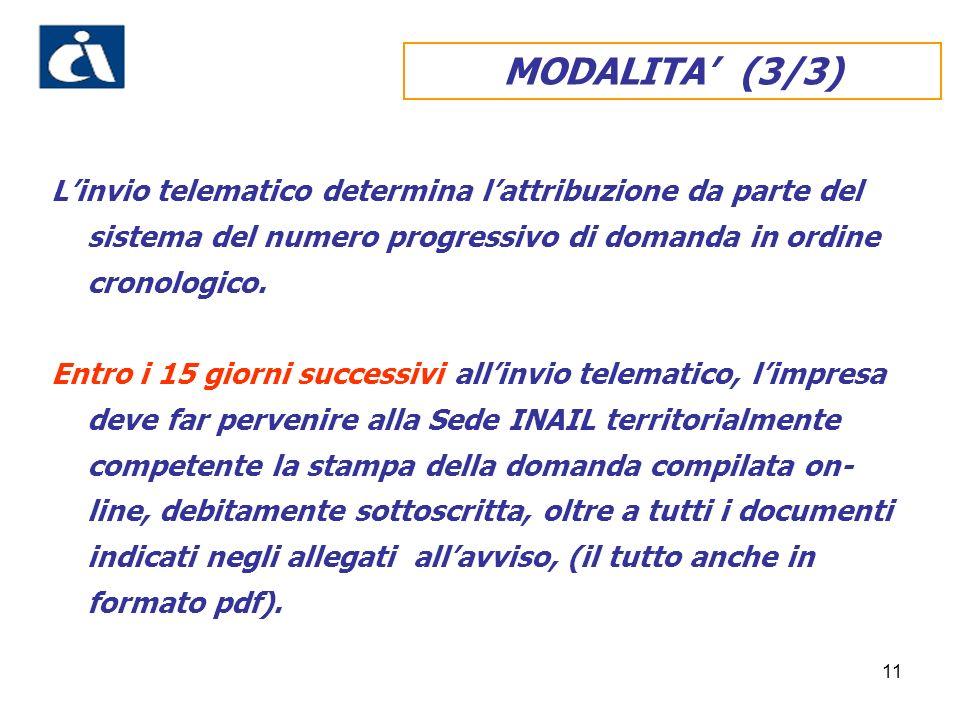 11 MODALITA (3/3) Linvio telematico determina lattribuzione da parte del sistema del numero progressivo di domanda in ordine cronologico.