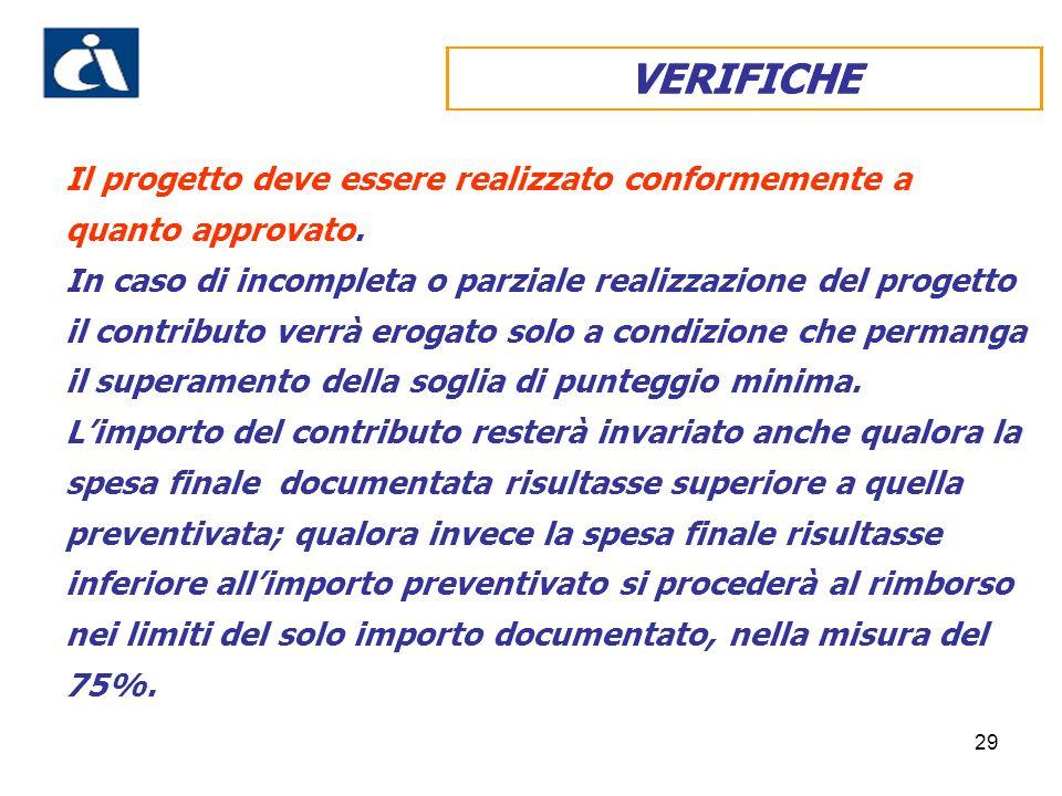 29 VERIFICHE Il progetto deve essere realizzato conformemente a quanto approvato.