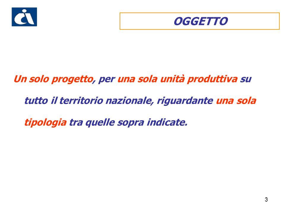 3 OGGETTO Un solo progetto, per una sola unità produttiva su tutto il territorio nazionale, riguardante una sola tipologia tra quelle sopra indicate.