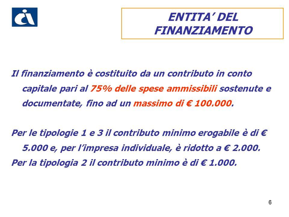 6 Il finanziamento è costituito da un contributo in conto capitale pari al 75% delle spese ammissibili sostenute e documentate, fino ad un massimo di 100.000.