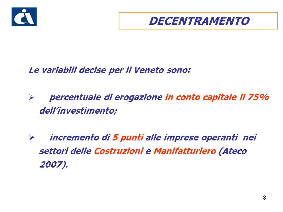8 DECENTRAMENTO Le variabili decise per il Veneto sono: percentuale di erogazione in conto capitale il 75% dellinvestimento; incremento di 5 punti alle imprese operanti nei settori delle Costruzioni e Manifatturiero (Ateco 2007).