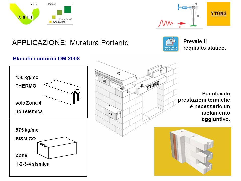 10 SOCIO APPLICAZIONE: Muratura Portante 450 kg/mc THERMO solo Zona 4 non sismica 575 kg/mc SISMICO Zone 1-2-3-4 sismica Blocchi conformi DM 2008 Prevale il requisito statico.