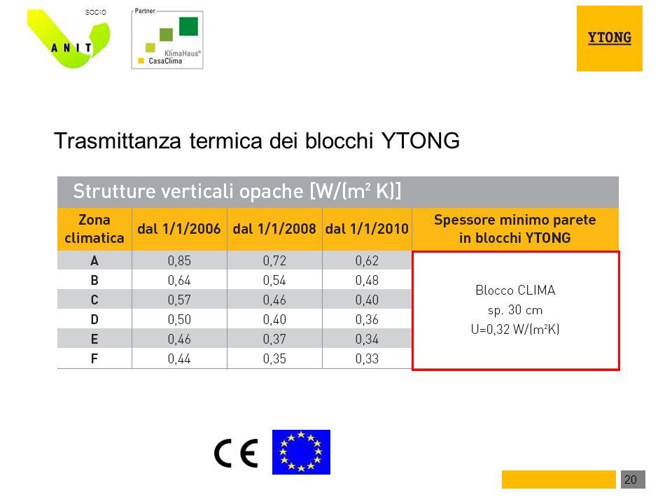 20 SOCIO Trasmittanza termica dei blocchi YTONG